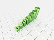 Green 3d chart. 3d render of a green 3d chart made out of word business Stock Photos