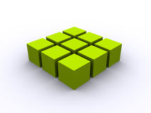 Green 3d cube square. 3d rendered green cubes in 3x3 grid on white background Stock Image