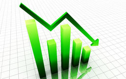 Green 3d decrease graph Royalty Free Stock Photo