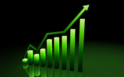 Green 3d graph Stock Photos