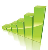 Green 3d graph growing up. Green 3d graph for your business presentation Stock Photo