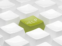 Green 3d key for help.  Isolated Royalty Free Stock Images