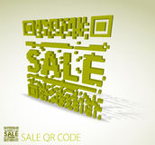 Green 3D qr code for discounted item Royalty Free Stock Image