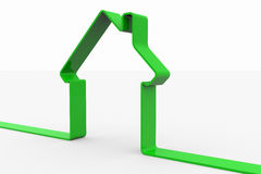 Green 3D sign of house. Royalty Free Stock Images