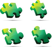 Green 3D Vector Puzzle. With shadows royalty free illustration