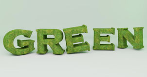 Green in 3d Word  textured grass Royalty Free Stock Photo
