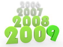Green 3D years starting 2009. In decaying with distance progression on white background Royalty Free Stock Photo