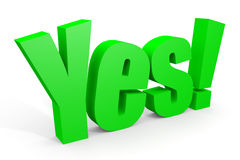 Green 3d YES text with exclamation mark. 3d YES text with exclamation mark. Computer generated image Royalty Free Stock Photo