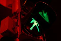Green. Pedestrian traffic light showing green in the night Stock Photos