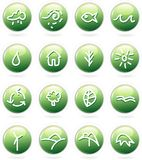Green. Vector buttons with hand drawn icons Stock Photo