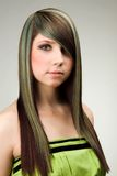 Green. A photo of attractive woman with coloured hairstyle Royalty Free Stock Photography