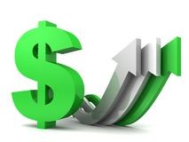 Green aand white arrows moving upward with dollar Stock Photography