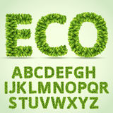 Green ABC. Green Fresh Leaves Ecology Alphabet. Vector letters set royalty free illustration