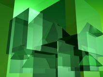 Green abstract. Abstract green cubes and cones Royalty Free Stock Photo