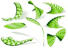 Green abstract 3d icon set. A set of different abstract icons: twisted pyramids, wings, feather, leaves stock illustration
