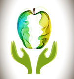 Green abstract apple and hands. Illustration stock illustration