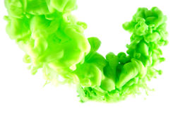 Green abstract art. Ink on white isolated background Stock Photography
