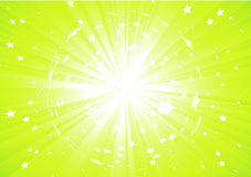 Green Abstract background. Vector illustration of Green Abstract background with light rays and burst of stars Stock Photo