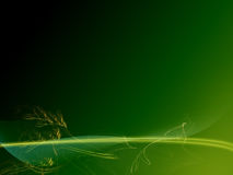 Green abstract background. With fractal plants and leaves and glowing lines. Done in Photoshop royalty free illustration