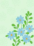 Green abstract background with blue daisies Stock Photos