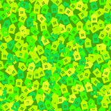 Green abstract background with 3D paper cut houses. Seamless pattern vector illustration
