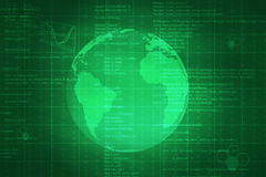 Green abstract background with Earth. And matrix. Elements of this image furnished by NASA vector illustration