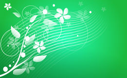 Green abstract background with floral ornaments Stock Photo