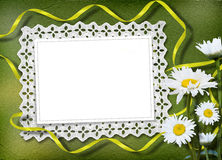 Green abstract background with frame. And floral beautiful bouquet Stock Illustration