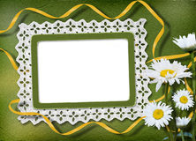Green abstract background with frame. And floral beautiful bouquet Royalty Free Illustration