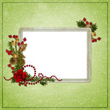 Green abstract background with frame. In scrapbooking style Royalty Free Illustration