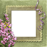 Green abstract background with frame. And floral beautiful bouquet Stock Photography