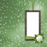 Green abstract background with frame. And beautiful bouquet Vector Illustration