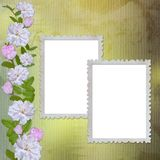 Green abstract background with frame and flowers. In scrap-booking style Vector Illustration