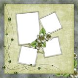 Green abstract background with frames. In scrapbooking style Stock Illustration