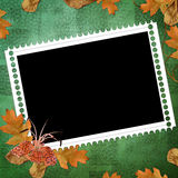 Green abstract background with frames. In scrapbooking style Royalty Free Illustration