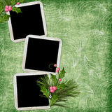 Green abstract background with frames. In scrapbooking style Vector Illustration
