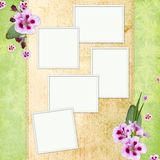 Green abstract background with frames. In scrap-booking style Stock Illustration