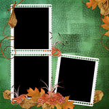 Green abstract background with frames and flowers. In scrapbooking style Royalty Free Illustration