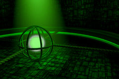 Green abstract background with glowing sphere and spaceship wall. Green glowing sphere and spaceship wall stock illustration
