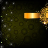 Green abstract background with golden banner Stock Photos