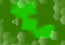 Green abstract background. With hexagon transparent shapes around Royalty Free Stock Photo