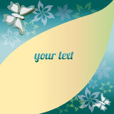 Green abstract background - Illustration. Green abstract background  with flowers, butterflies Royalty Free Stock Photo
