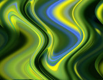 Green abstract background, liquid waves Stock Image
