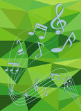 Green  abstract background with music notes Royalty Free Stock Photo