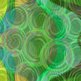 Green abstract background with rounded elements on wavy area. Green abstract background with rounded swirl elements on wavy area in vivid green shades royalty free illustration