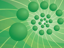 Green abstract background with spiral. Made of spheres stock illustration