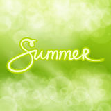 Green Abstract Background with Text Summer. Soft Glow of the Sun ,Summer Concept, Hand Lettering Calligraphy , Vector Illustration Royalty Free Stock Photo