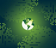 Green abstract background with world map Stock Images