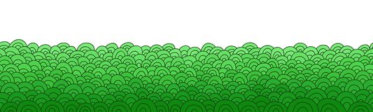 Green abstract border. Doodle seamless background. Hand drawn grass pattern. Royalty Free Stock Image