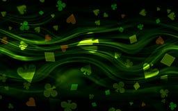 Green abstract bright poker casino pattern of playing card symbols.  vector illustration
